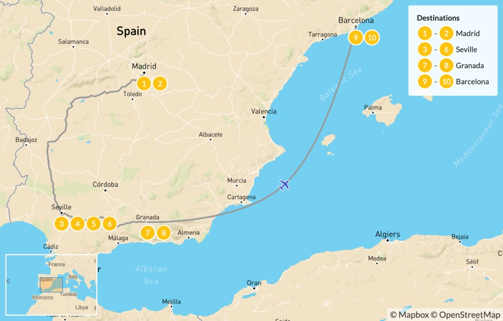 Map of Best of Spain Highlights Tour: Barcelona, Madrid, & Seville - 11 Days