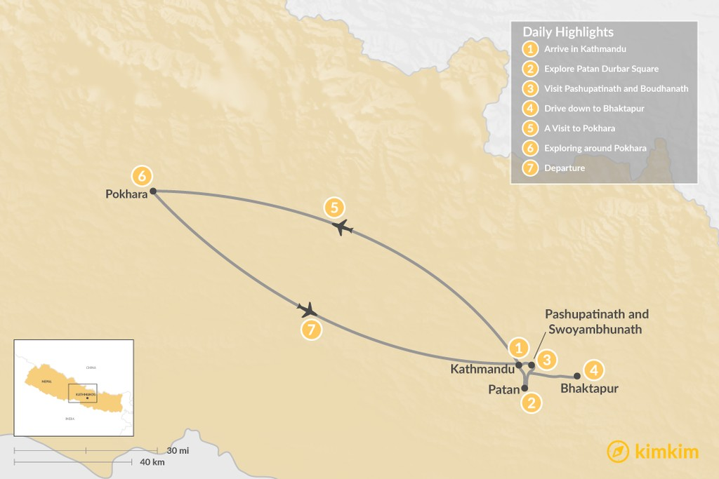Map of Highlights of Kathmandu and Pokhara - 7 Days
