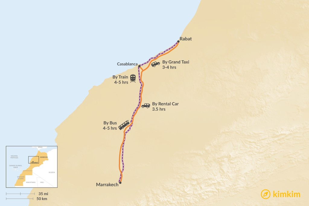 Map of How to Get from Marrakech to Rabat