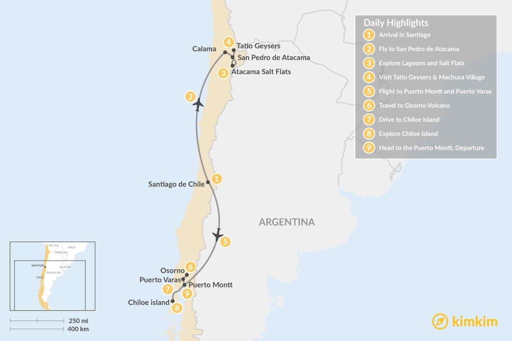 Map of  Atacama Desert & Lake District - 9 Days