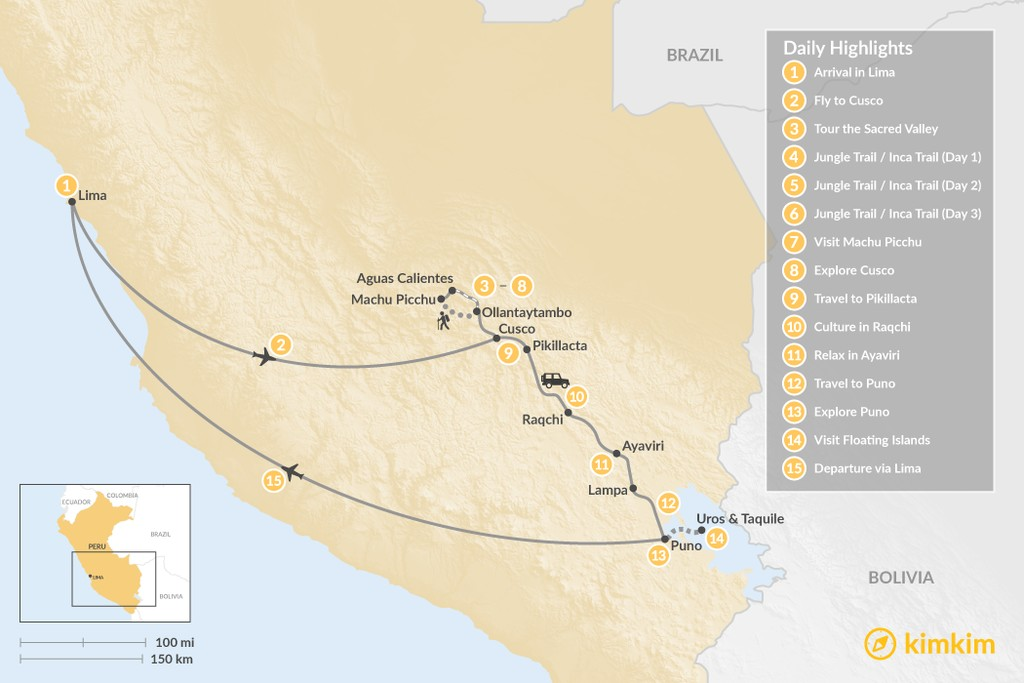 Map of Classic Southern Peru - 15 Days