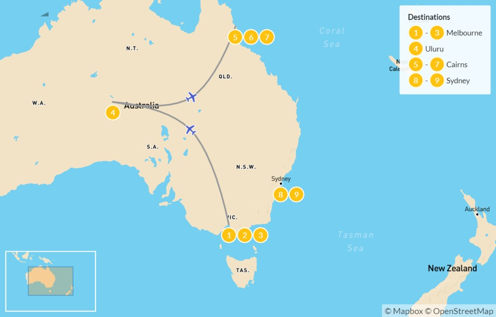 Map of Australia Highlights: Melbourne, Uluru, Cairns, & Sydney - 10 Days