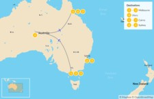 Map thumbnail of Australia Highlights: Melbourne, Uluru, Cairns, & Sydney - 10 Days