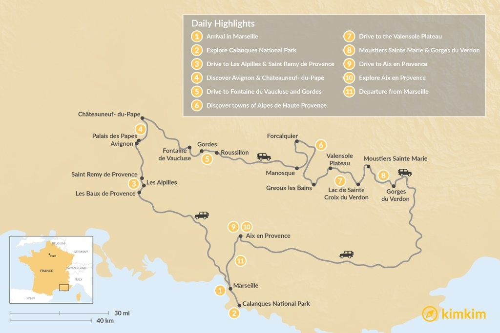 Map of Highlights of Provence - 11 Days