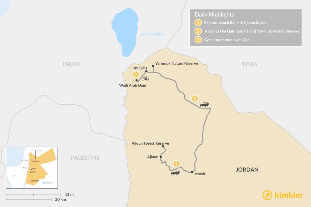 Map of 3 Days in Northern Jordan