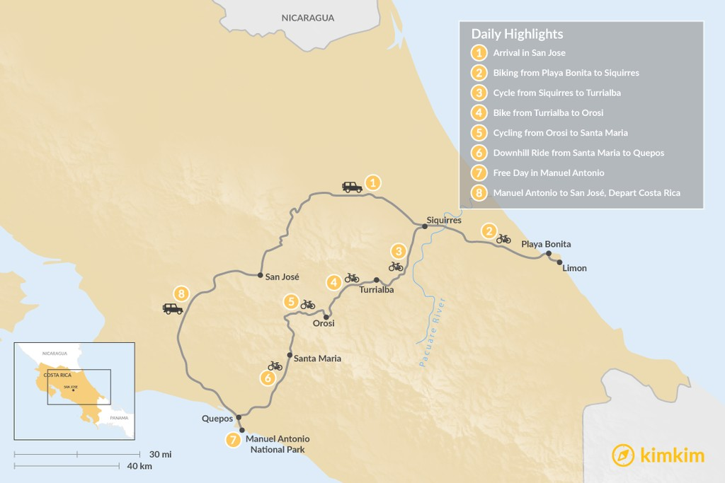 Map of Costa Rica Cycling Adventure - 8 Days