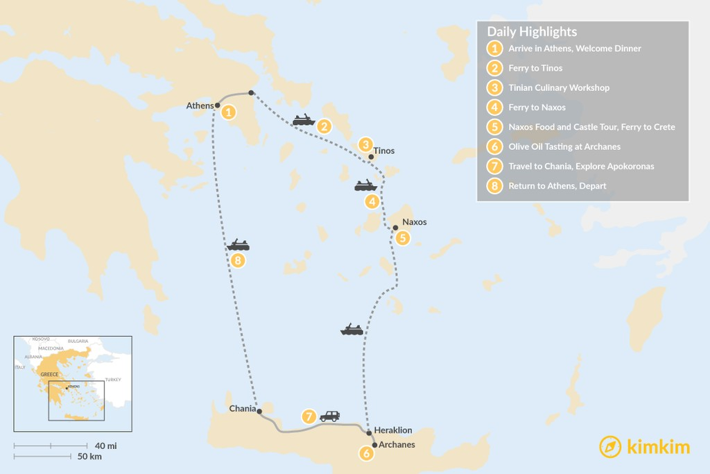 Map of Cyclades & Crete Culinary History Tour - 8 Days