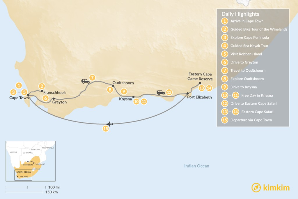 Map of South Africa Road Trip: Cape Town, Winelands, Garden Route, & Eastern Cape Safari - 15 Days