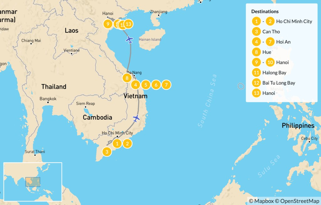 Map of Highlights of Vietnam: Ho Chi Minh City, Ha Long Bay, & More - 14 Days