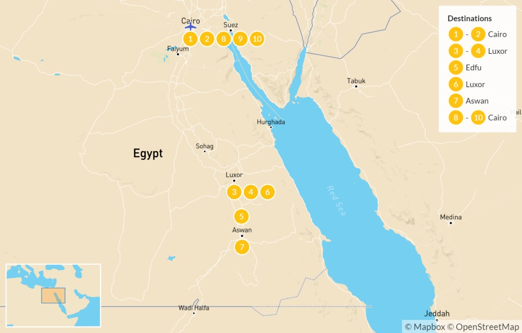 Map of Egypt by Land and Sea: Cairo, Luxor, & the Nile - 10 Days