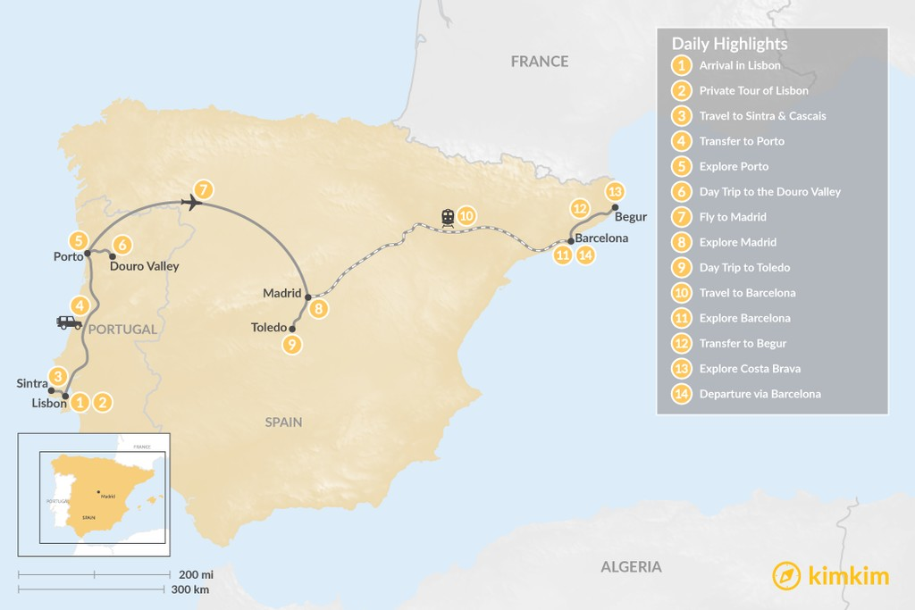 Map of Highlights of Spain & Portugal: Cities, Beaches, & Culture - 14 Days