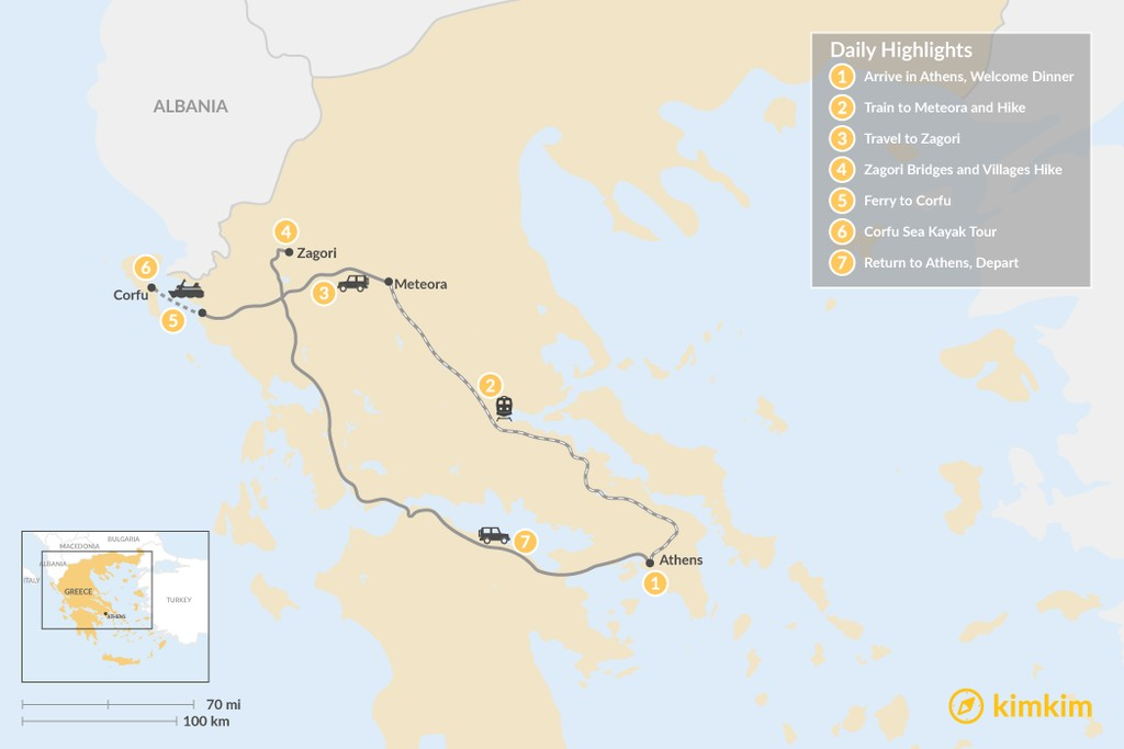 Map of Adventurous Athens, Central Greece, and Corfu - 7 Days