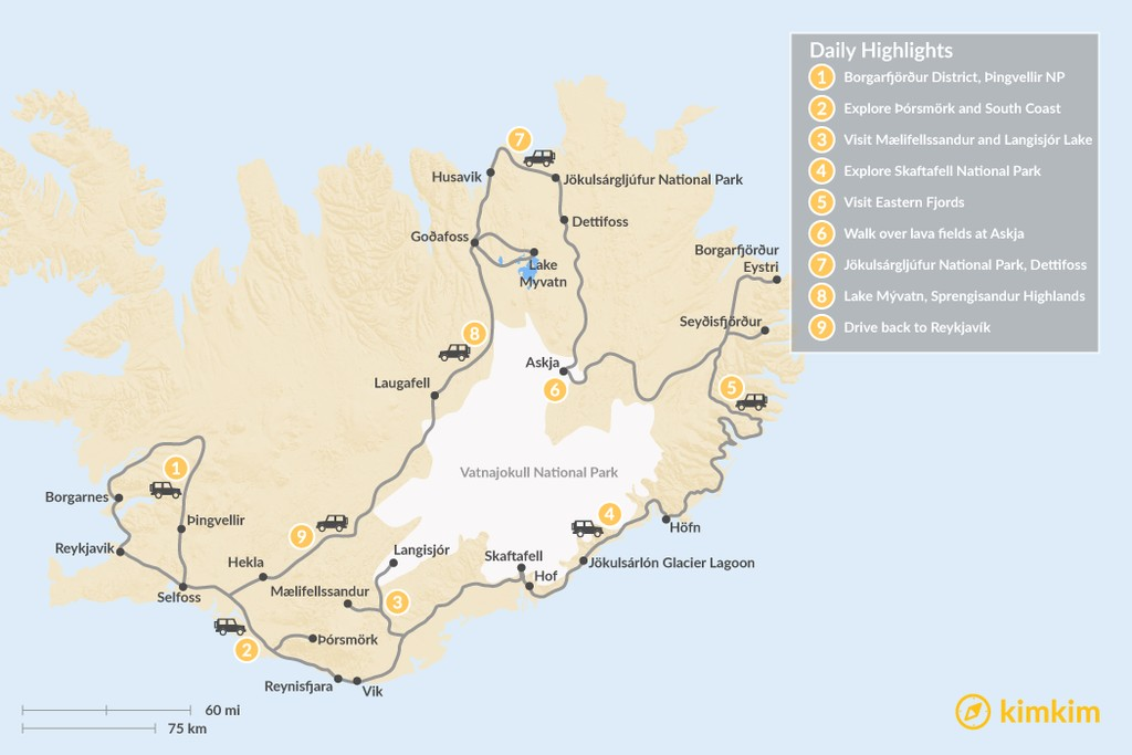 Map of Self-Guided Iceland Grand Tour by Land Rover