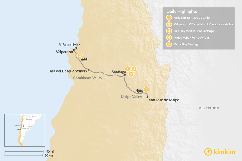 Map of Central Chile Exploration - 5 Days