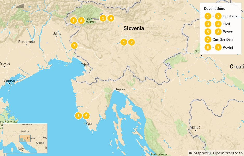 Map of Slovenia & Croatia Scenic Road Trip: Ljubljana, Lake Bled,  Soča Valley & the Istrian Peninsula - 10 Days
