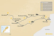 Map thumbnail of Marrakech & Grand Tour of the Sahara Desert - 5 Days