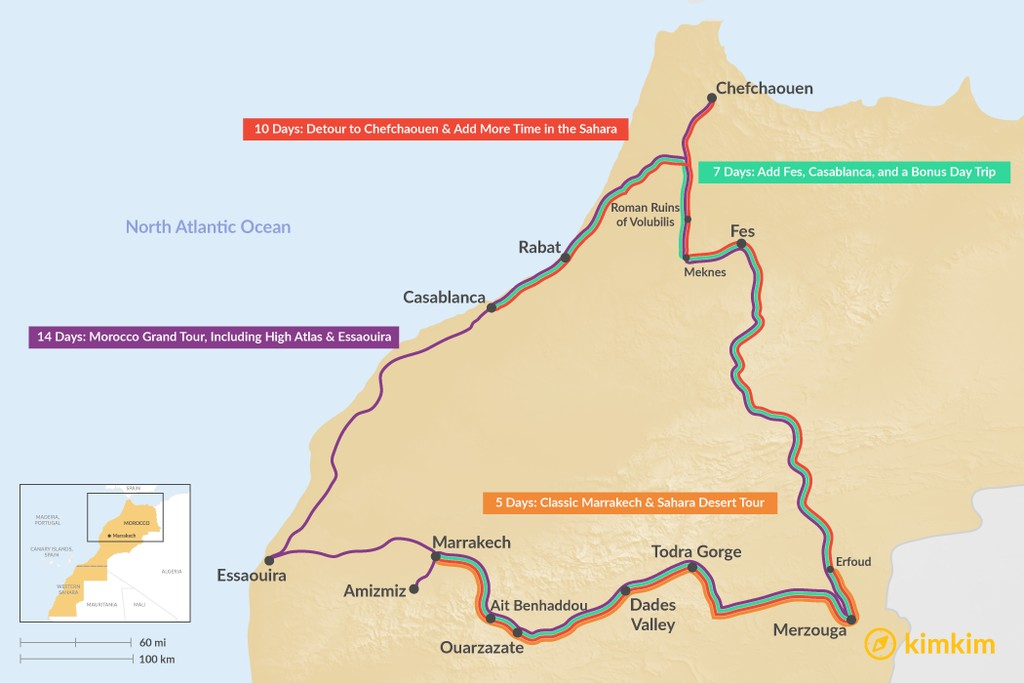 Map of Ultimate Morocco Itineraries: 5, 7, 10, & 14 Days