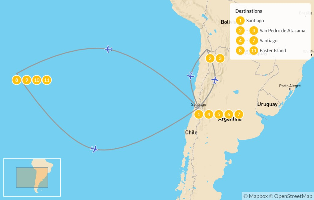 Map of Northern Chile Highlights: Santiago, Atacama Desert, Easter Island, & More - 12 Days
