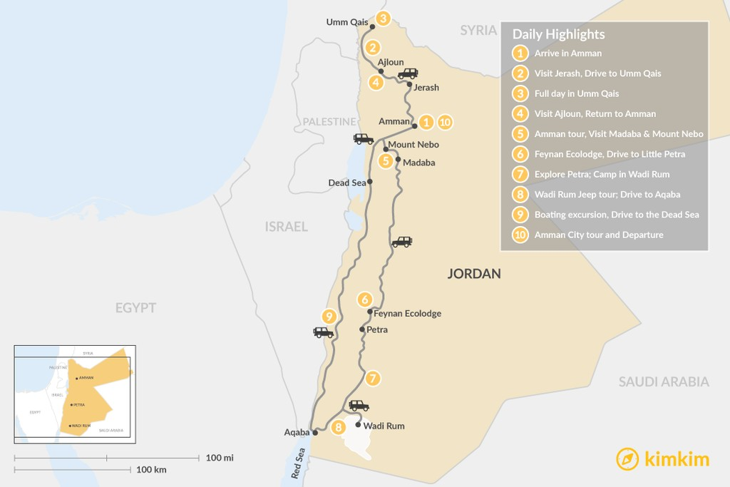 Map of Experience Jordan: Jerash, Petra, Wadi Rum, & More - 10 Days