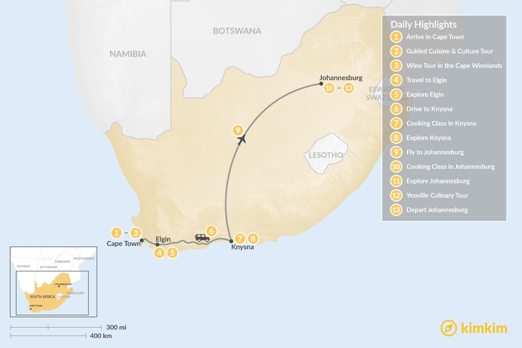 Map of South Africa Food & Wine Tour: Cape Town, Garden Route, & Johannesburg - 13 Days