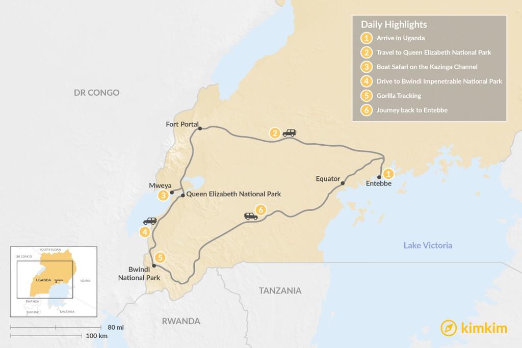 Map of Gorillas and Big Game Safari - 6 Days