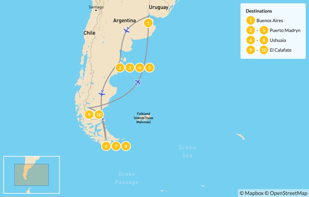 Map of Adventures in Argentina: Puerto Madryn & Tierra del Fuego - 11 Days