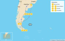 Map thumbnail of Adventures in Argentina: Puerto Madryn & Tierra del Fuego - 11 Days