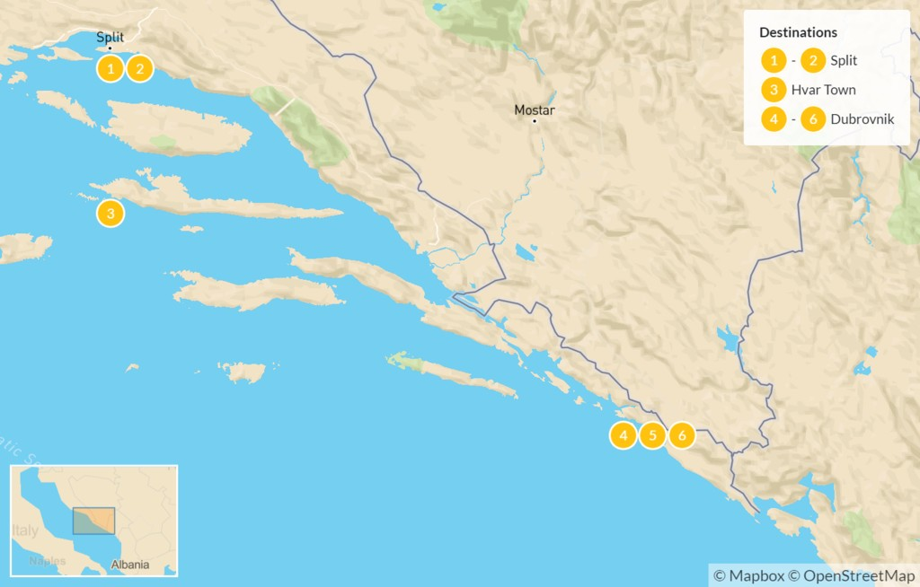 Map of Croatia Family Vacation: Split, Hvar, & Dubrovnik - 6 Days