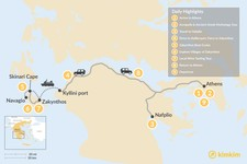 Map thumbnail of Historic Peloponnese and Zakynthos - 9 Days