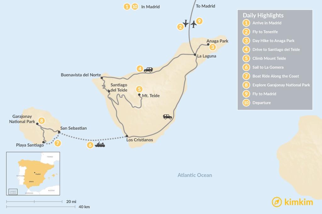 Map of Wild Canary Islands Road Trip: Madrid, Tenerife & La Gomera - 10 Days
