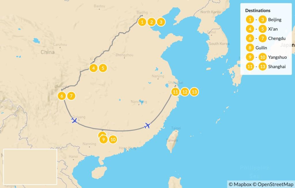 Map of Beijing, Xi'an, Chengdu, Guilin & Shanghai Tour - 14 Days