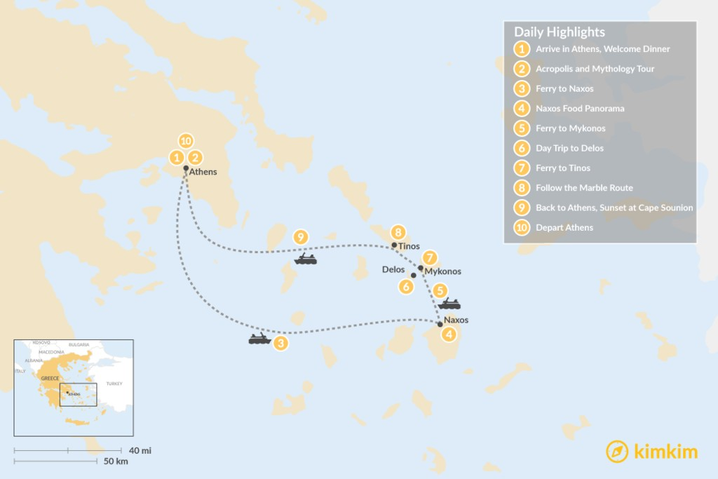 Map of Past and Present in Athens, Tinos, Mykonos & Naxos - 10 Days