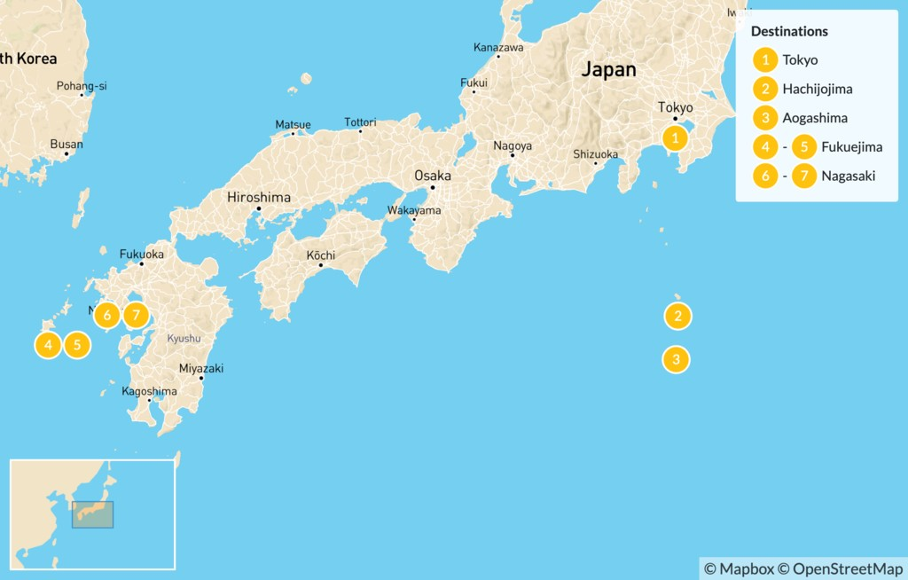 Map of Cities and Islands of Japan: Tokyo, Osaka, Nagasaki, & More - 10 Days