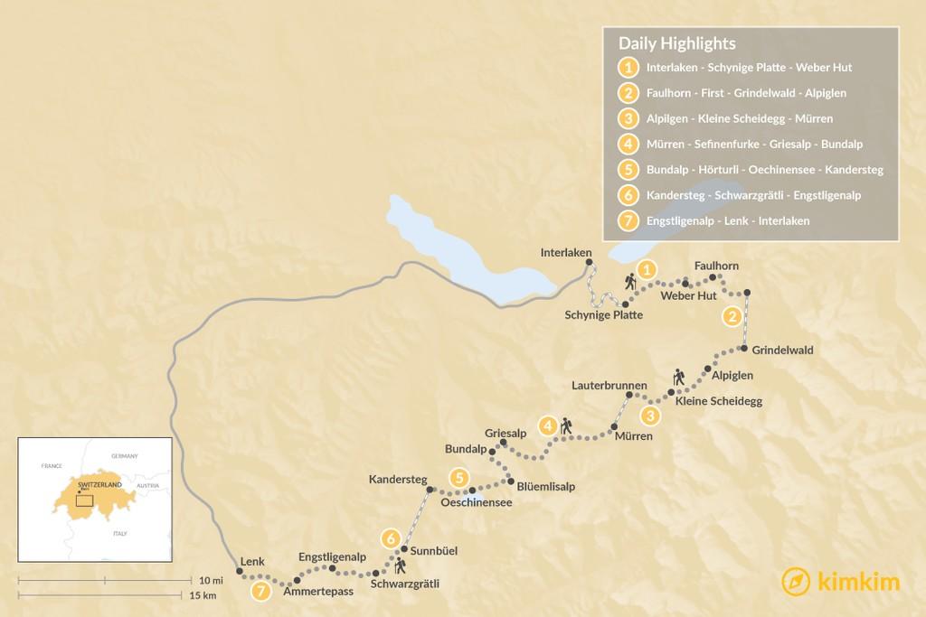 Map of Bernese Oberland Traverse - 7 Days