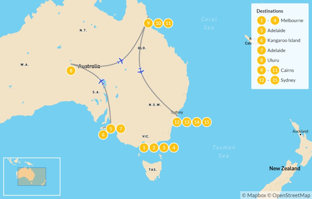 Map of Australia Grand Tour: Sydney, Melbourne, Uluru, Great Barrier Reef - 15 Days