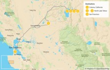 Map thumbnail of Gold Country, Whitewater Rafting & Lake Tahoe - 6 Days