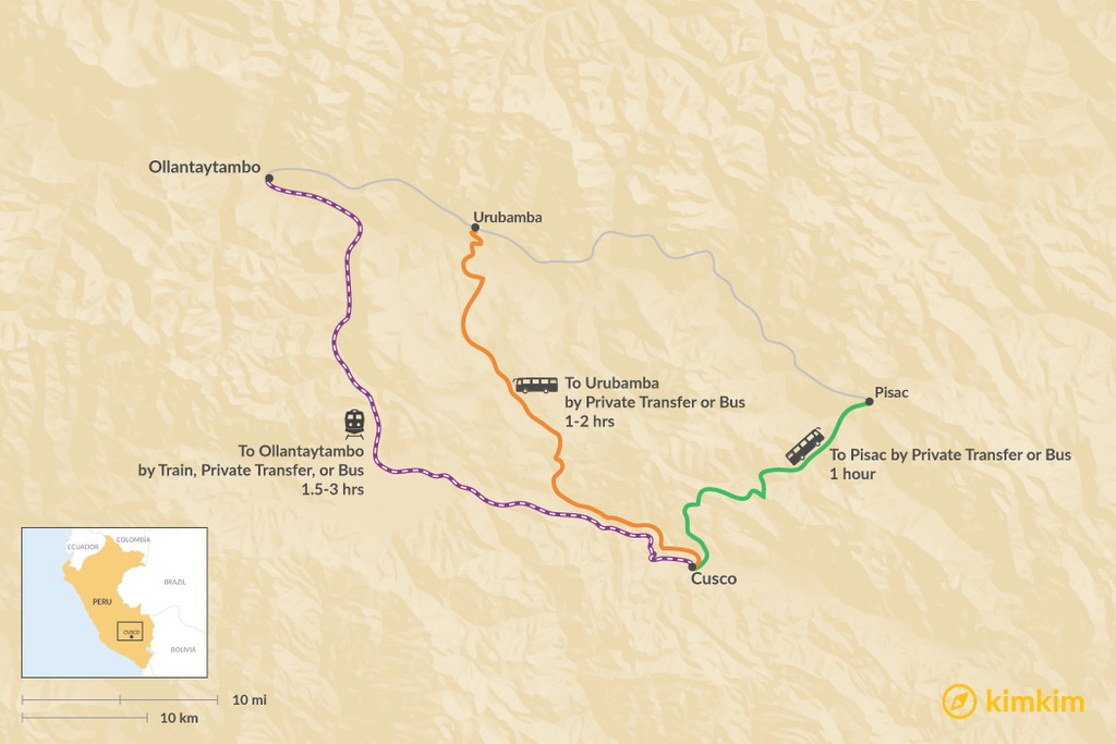 Map of How to Get from Cusco to the Sacred Valley
