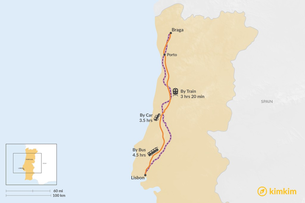 Map of How to Get from Lisbon to Braga