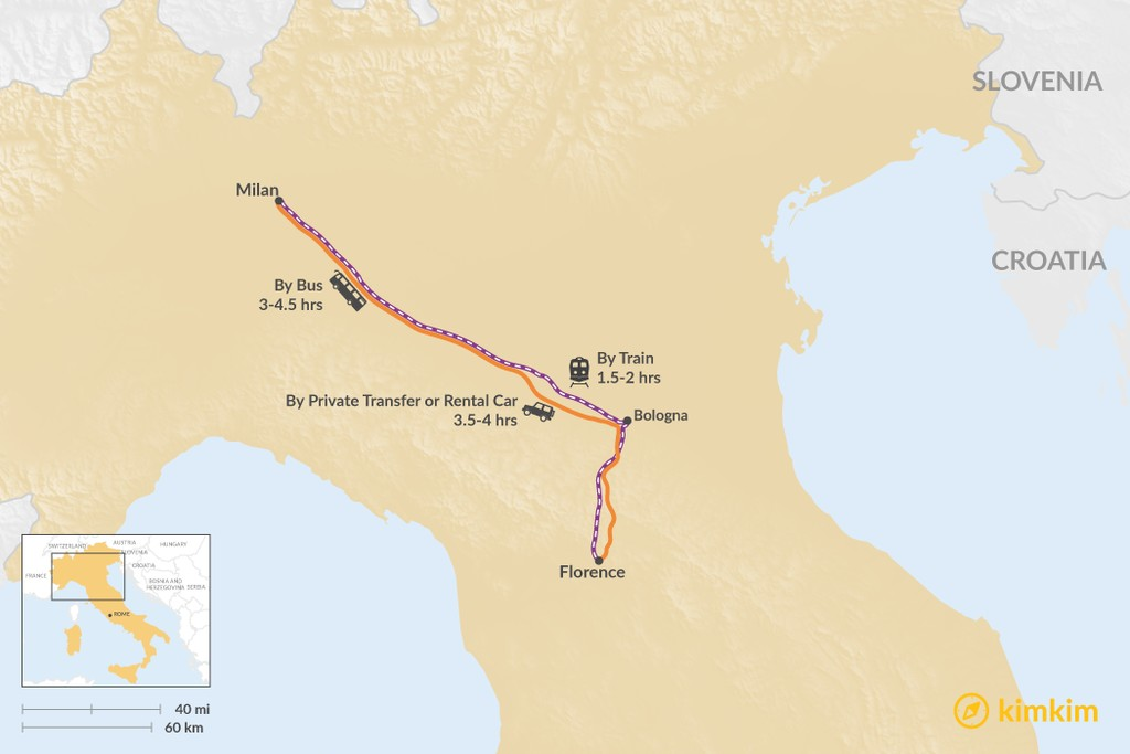 Map of How to Get from Florence to Milan