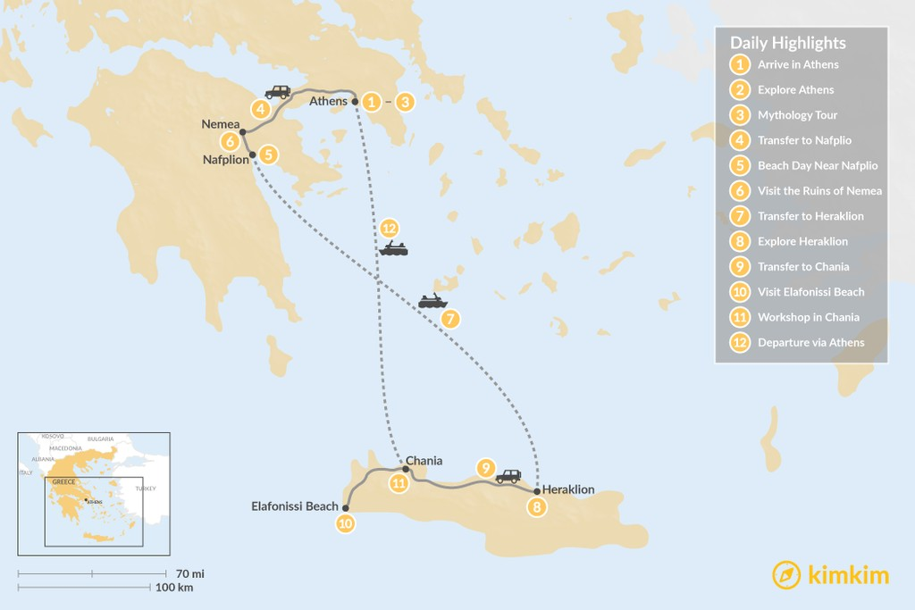 Map of Family Trip to Ancient Greece - 12 Days