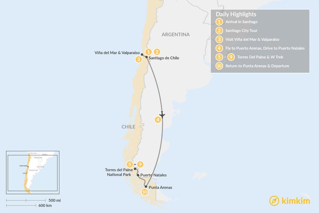 Map of Santiago & W Trek Adventure - 10 Days