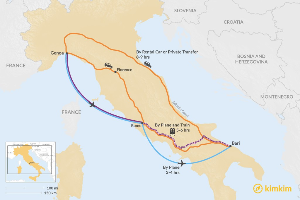 Map of How to Get from the Italian Riviera to Puglia