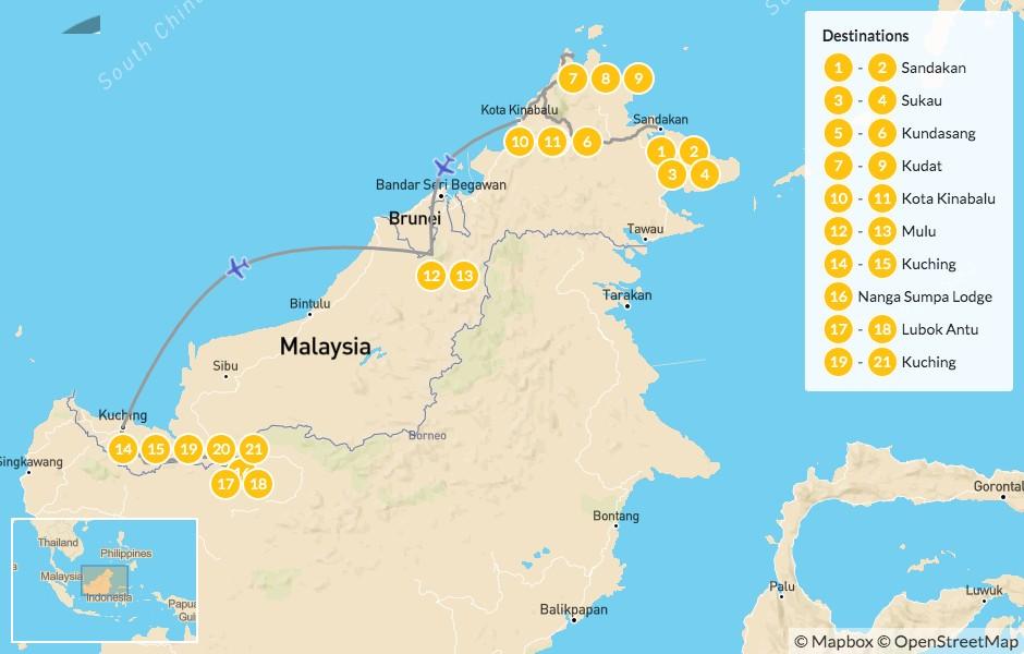 Map of Grand Malaysian Borneo Adventure: Sabah & Sarawak States - 22 Days