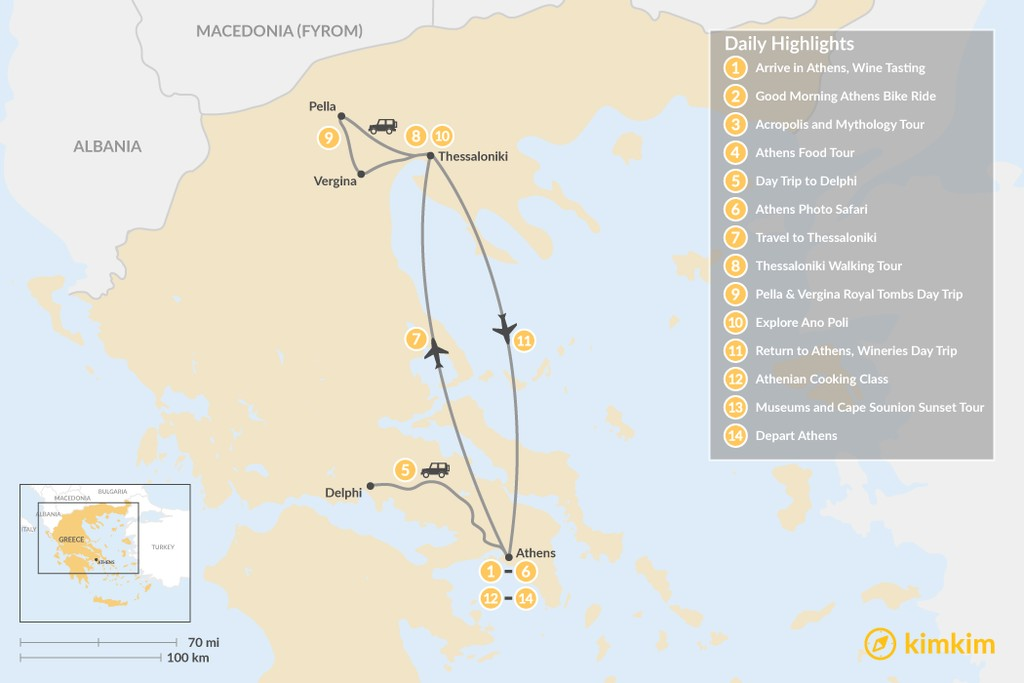 Map of  Urban Adventures and History in Athens & Thessaloniki - 14 Days