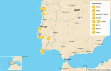Map thumbnail of Coastal Portugal: Lisbon, Porto, & The Algarve - 10 Days