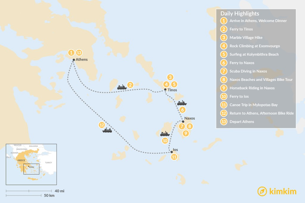 Map of Active Cyclades: Tinos, Naxos & Ios - 13 Days