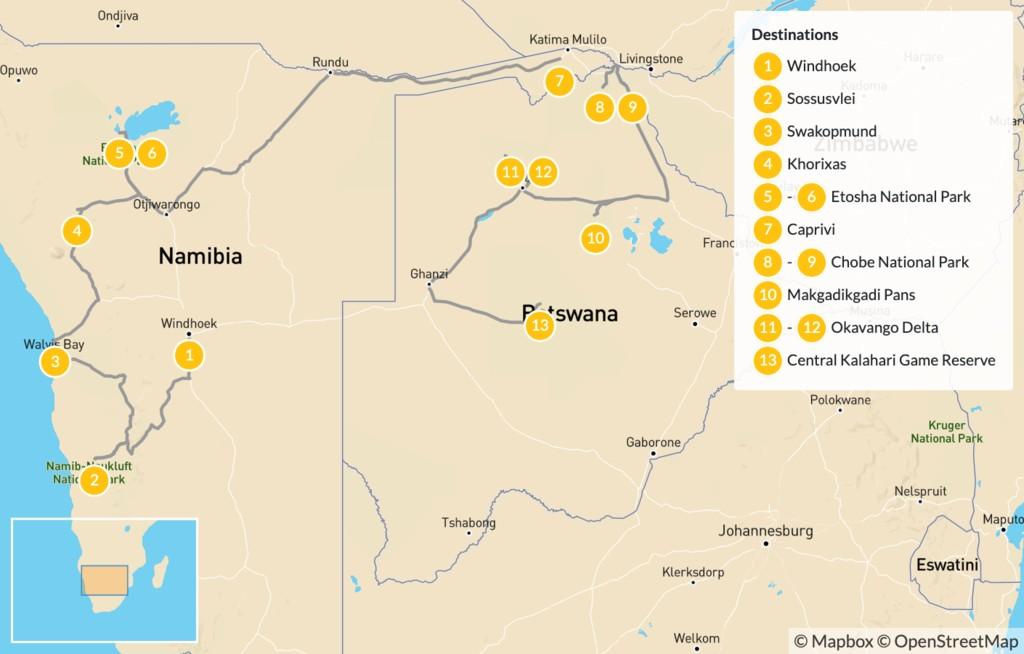 Map of Namibia & Botswana Safari Road Trip - 14 Days