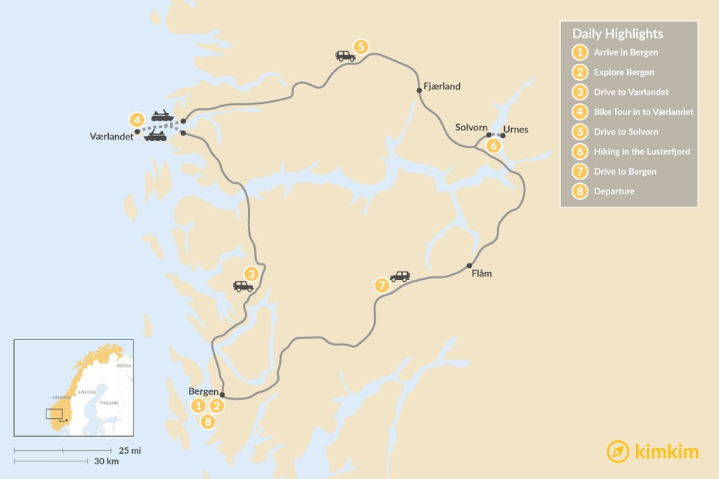 Map of Western Norway Self-Drive Tour - 8 Days