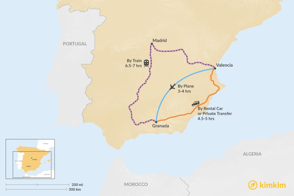 Map of How to Get from Valencia to Granada
