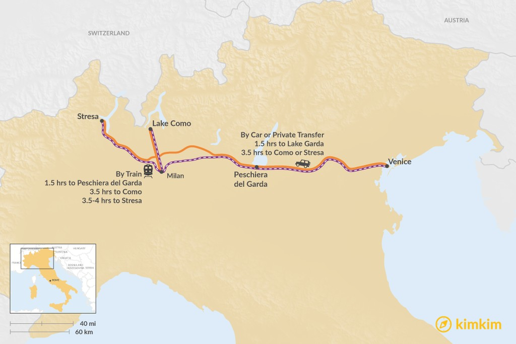 Map of How to Get from Venice to Italy's Lakes Region
